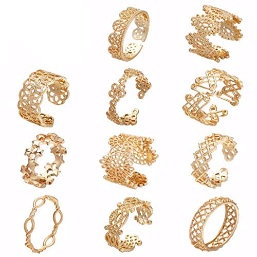 - Luccaful Gold Color Flower Stackable Finger Ring Wedding Women's Cocktail Hollow Geometric Toe Foot Ring Party Jewelry Bague Femme,7,Deer,Gold-Color