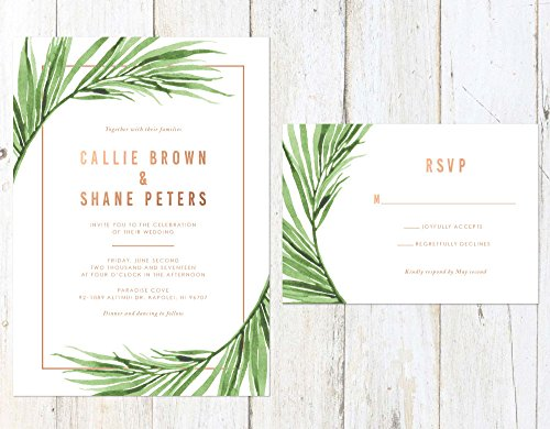 Tropical Leaves Wedding Invitation, Tropical Palm Leaves Wedding Invitation, Rose Gold Wedding Invitation by Alexa Nelson Prints