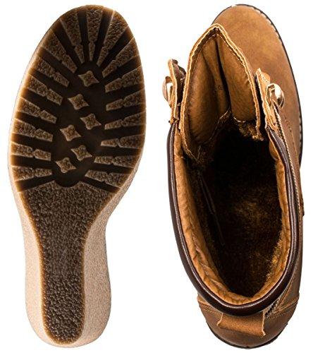 Elara Damen Keilstiefeleten | Gefütterte Schnür Wedges | Lederoptik Stiefelette Camel Mailand