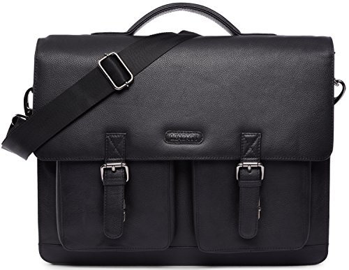 LEABAGS Miami genuine buffalo leather briefcase in vintage style - Nutmeg Onyxblack