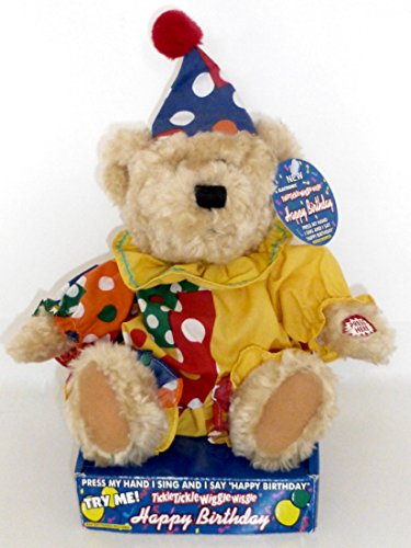 DANDEE Tickle Tickle Wiggle Wiggle HAPPY BIRTHDAY Teddy Bear In Clown Costume-- Rare (Tickles The Clown Costumes)