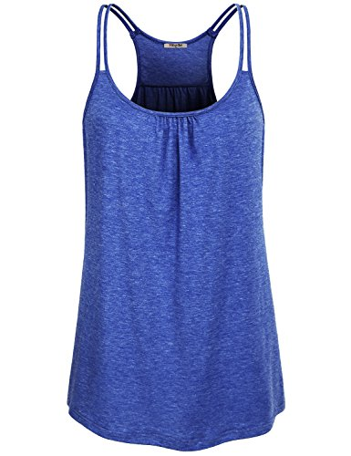 Loose Training Top - Hibelle Cute Workout Tops for Women, Girls Training Modest Soft Knit Racerback Tank Moisture Wicking Summer Straps Running Pullover Yoga Shirts Active Wear Clothes Blue Medium