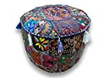Indian Christmas Gift Embroidered Patchwork Ottoman Cover,Traditional Indian Decorative Pouf Ottoman,Indian Comfortable Floor Cotton Cushion Ottoman Pouf,Indian Designs Ethnic Patchwork Pouf 14x22''