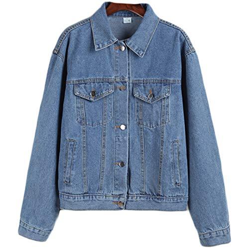 Vêtements Lâche Bleu Cowboy Casual féminine Manteau clair Fulision Manches Longues Mode UxY8x1wO