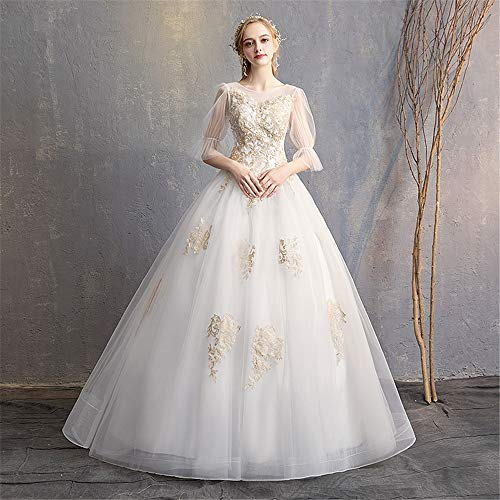 GLMPQ Women's Wedding Dress Womens Floral Lace Gown Bridal Wedding Dresses Bride Dress Formal Party Maxi Dress for Wedding (Color : White, Size : XL)
