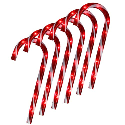 Northlight Set of 6 Lighted Blinking Outdoor Candy Cane Christmas Pathway Markers