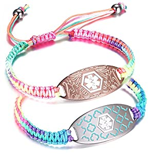 JF.JEWELRY Multicolor Nylon Braided Rope Medical Alert ID Bracelet for Women and Girls,Free Engraving