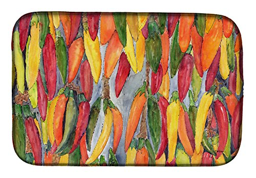 (Caroline's Treasures 8893DDM Hot Peppers Dish Drying Mat, 14