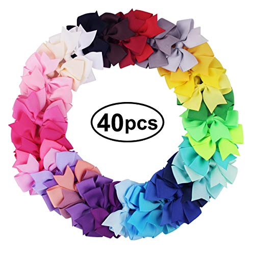 Jinxuny 40Pcs Toddler Boutique Hair Bows Kid Girls Ribbon Bow Hair Clip Grosgrain Ribbon Headband Fashion Alligator Clamp Party Hair Accessories ()
