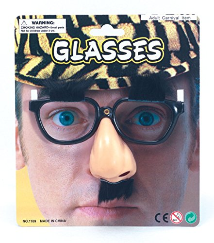 Bristol Novelty MD129 Glasses/Nose/Eyebrows and Moustache, Black/Beige, One...