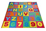 Toydaloo Eva Kids Foam Play, Alphabet ABC Plus Numbers Puzzle Mat, Plus 24 Border Edges, Includes Reusable Carrying Bag with Handle, 36 Piece