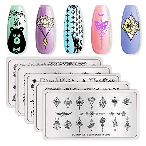 Born Pretty 5Pcs Nail Art Stamping Plates Set Nature Series Flower Animal Garden manicuring Print Image Templates