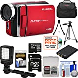 Bell & Howell DV30HD 1080p HD Video Camera Camcorder (Red) 32GB Card + Battery + Case + Tripods + LED Video Light + Kit