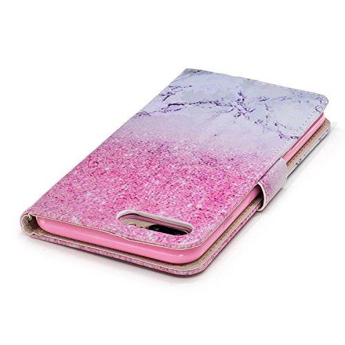 iPhone 8 Plus Hülle,Rosa Marmor PU Leder Wallet Handytasche Flip Etui Schutz Tasche mit Integrierten Card Kartensteckplätzen und Ständer Funktion Für Apple iPhone 8 Plus + Zwei Geschenk