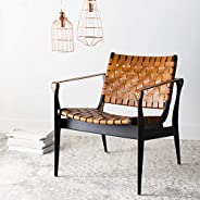 Safavieh Couture Home Dilan Brown Leather Weave and Black Safari Accent Chair