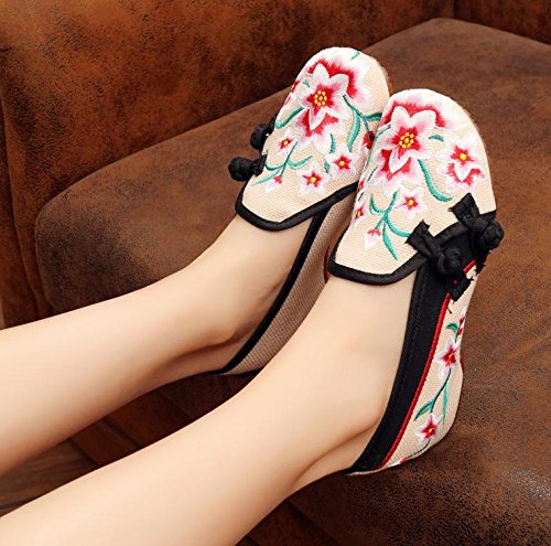 Cómodo Étnico En Zapatos Moda Gamuza Beige De Casual El Mn Tendón Estilo Zapatos Suela Bordado Mujeres Aumento qvwc8POI