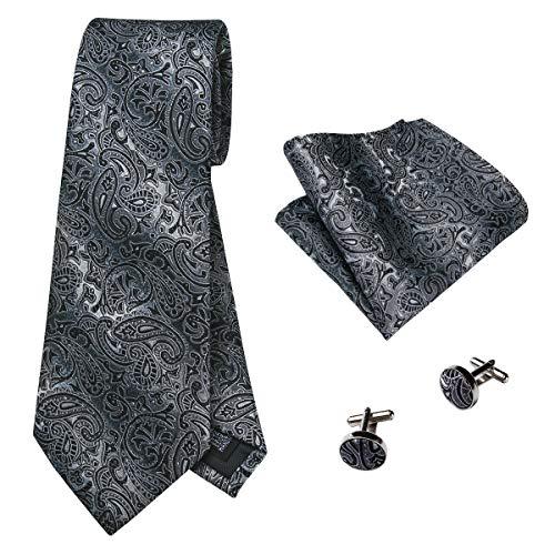 (Hi-Tie Men Black Grey Paisley Tie Pocket Square and Cufflinks Tie)