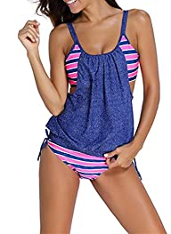 Sidefeel Women Push Up Tankini With Panty Two Pieces Swimsuit Set