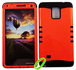 Cellphone Trendz HARD & SOFT RUBBER HYBRID ROCKER HIGH IMPACT PROTECTIVE CASE COVER for Samsung Galaxy Note 4 - Orange Snap Design Hard Case on Black Silicone