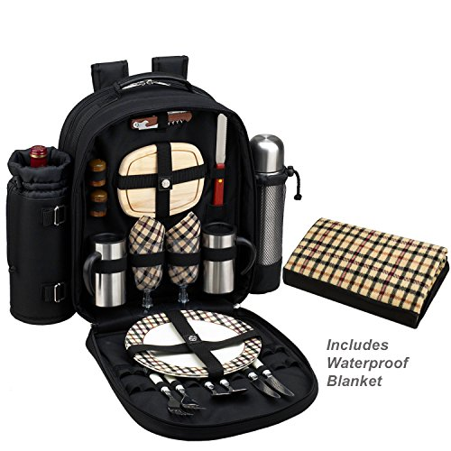 Picnic at Ascot Original Coffee Backpack with Matching Waterproof Picnic Blanket - Vacuum Flask & Stainless Steel Mugs etc- Designed & Assembled in (Coffee Picnic Backpack)