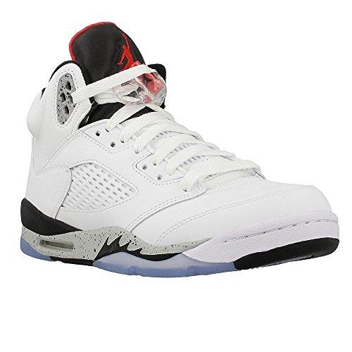 Jordan Air 5 Retro BG White Cement kids casual sneakers white/university red-black New 440888-104 - 7 by Jordan