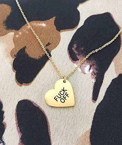 Frank and Doll Heart Pendant Necklace F K Off Heart Pendant Stylish Womens Gold Heart Pendant Necklace Fashion Necklace AS SEEN ON TV