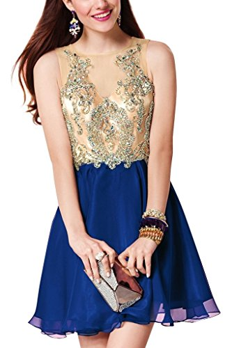 Charm Bridal chiffon sequin summer dress Prom Party dresses Cocktail dress short -14-Champagne/Royal Blue by Charm Bridal