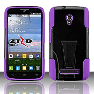 QualityStores® Alcatel One Touch Pop Mega LTE A995L - HYBRID PC/SC Combo Cover w/ Kickstand - Carrying Case - Retail Packaging - Purple+ Cleaning Cloth