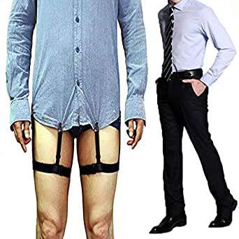 Yohoo 1 Pair Man's Adjustable Shirt Stays with Clip Non-slip Elastic Belts for Normal Clothes White-collar Suit Wrinkle Resistant Anti-slip Clamp Thigh Ring Garter (Black)