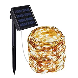 Moreplus Solar String Lights 100 LED 33ft 8 Modes Copper Wire Lights Indoor/Outdoor Waterproof Decorative String Lights for Garden, Patio, Home, Yard Party, Wedding, Christmas,Warm White,33 ft