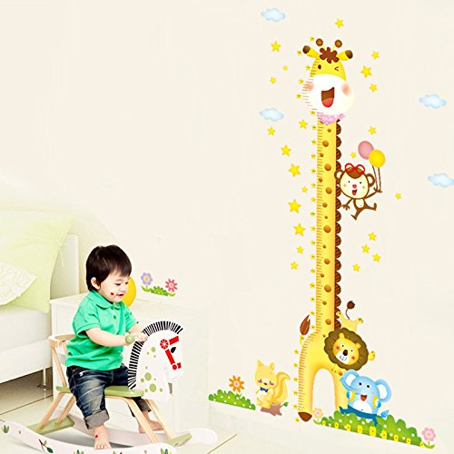 EMIRACLEZE Christmas Gift Cartoon Giraffe Height Tall Sticker Waterproof Removable Mural Wall Stickers Wall Art Decal for Children Room - Glasses Express Polar Kid