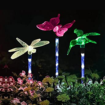 Great Garden Lights ,Solarmks Garden Solar Lights Outdoor Multi Color Changing  LED Hummingbird, Dragonfly, Butterfly Lights ,with A White LED Light Stake  For ...