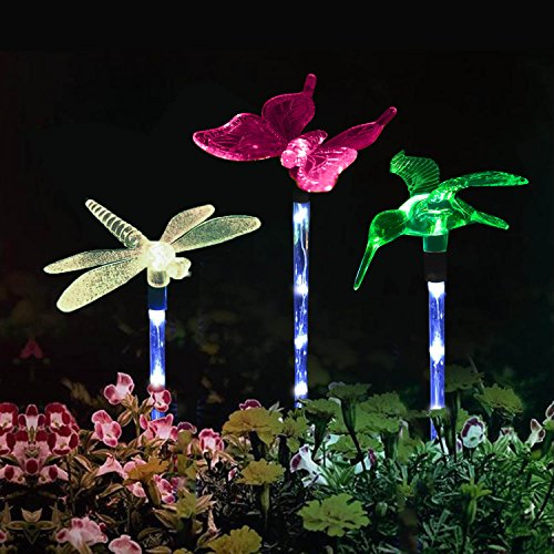 Garden Lights ,Solarmks Garden Solar Lights Outdoor Multi-color Changing LED Hummingbird, Dragonfly, Butterfly Lights ,with a White LED Light Stake for Garden (White Garden Stake)