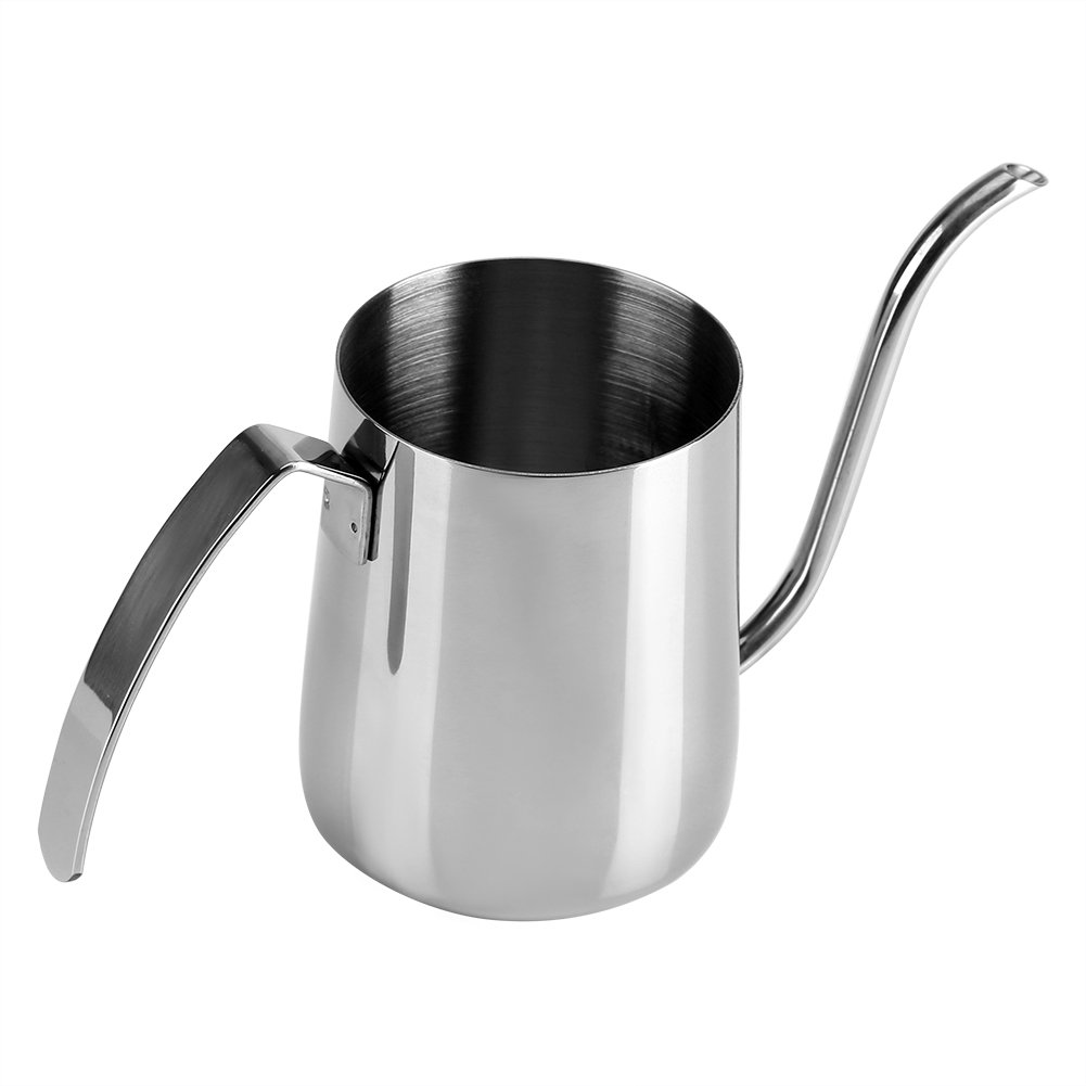 Richer-R Pour Over Drip Pot, 350ML High Quality Thickened Stainless Steel Pour Hand Coffee Drip Pot Long Gooseneck Spout Kettle(Black)