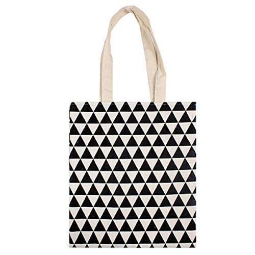 Chezi Women's Triangle Print Cotton Reusable Foldable Canvas Tote Shopping Bag (black -