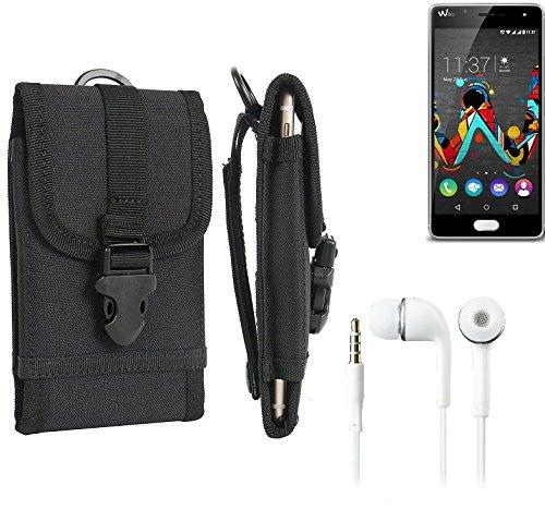 bolsa del cinturón / funda para Wiko Ufeel, negro + Auriculares | caja del teléfono cubierta protectora bolso - K-S-Trade (TM)