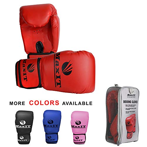 Bag Leather Gloves Padded (MaxIT Pro Style Boxing Gloves | Padded Odor-Free PU Leather for Men or Women | Hand Glove Set for MMA, Muay Thai, Sparring, Boxing, Kickboxing, Punching Bag, Training, Fighting Sports)