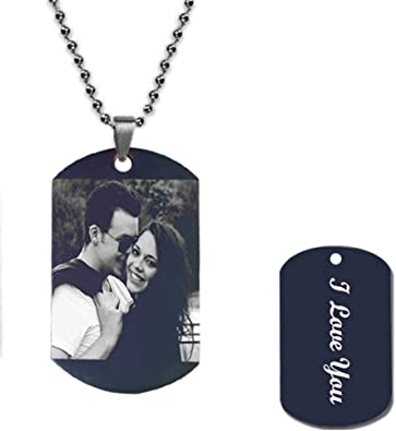 Customize Photo Necklace Titanium Steel Black Style mens necklaces pendant