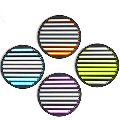 Coralpearl Heat Resistant Mats Hot Pad Holders Spoon Rest Trivet Set Table Runner Kit for Pan Dish Plate,Instant Pot,Pressure Cooker,Iron Skillet,Stovetop,Kitchen Countertop (Round-4pcs ass.)