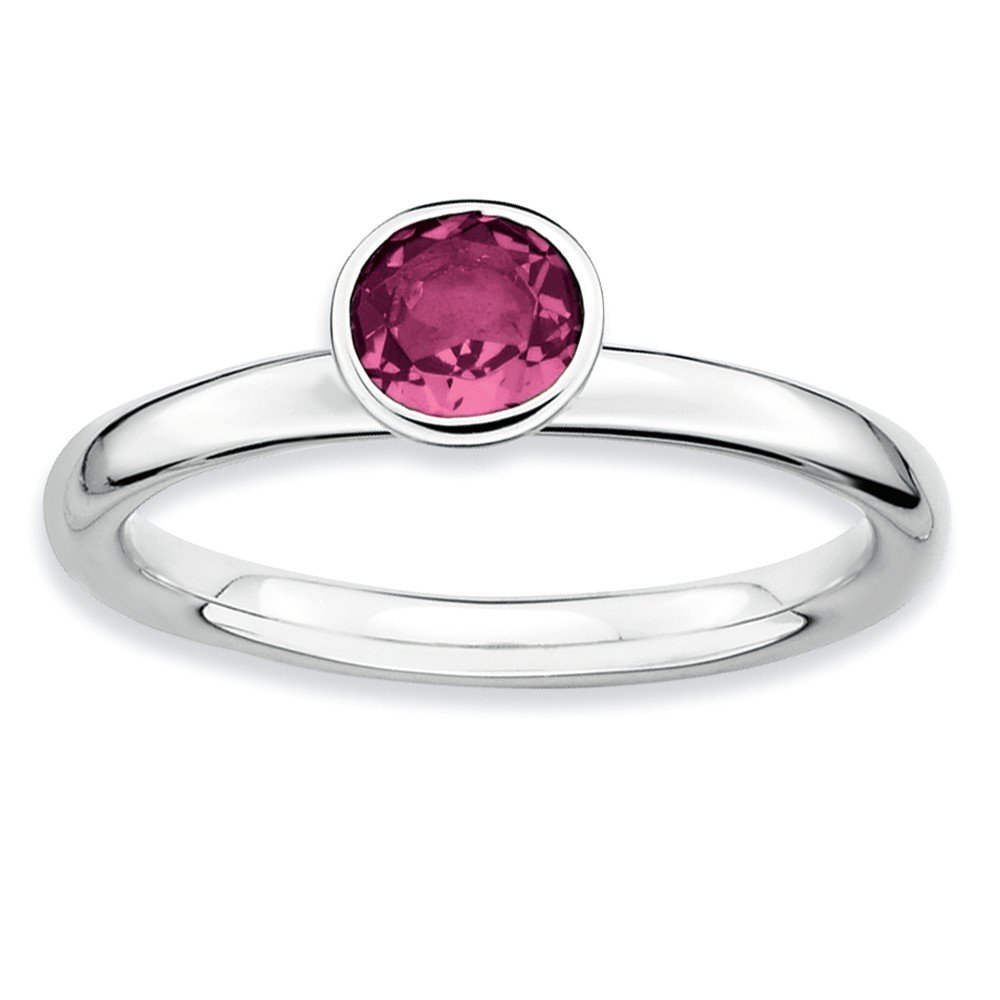 Top 10 Jewelry Gift SS Stackable Expressions High 5mm Round Pink Tourmaline Ring