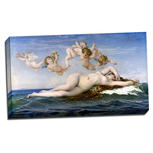 Birth Canvas - Alexandre Cabanel The Birth of Venus Gallery Wrapped Canvas Giclee Print - Finished Size (W) 22'' x (H) 12.5'' [Gallery-Wrap] (S08-01T-Stretched-Border) - Enhanced Image