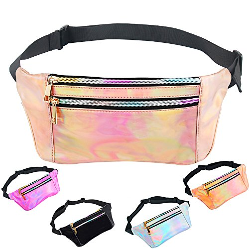 iAbler Holographic Fanny Pack for Women and Men Metallic 80s Shiny Fanny Packs with Adjustable Belt Fashion Waist Bum Bag for Party, Festival, Rave, Hiking, Trip]()
