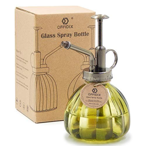 """OFFIDIX Plant Mister,Glass Spray Bottle Small Watering Can Indoor 6.3"""" Tall Vintage Pumpkin Style Plastic Top Pump One Hand Mister Spray Bottle for Indoor Potted Plants (Olive Green) 1"""