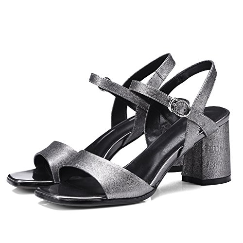 Heel Spring 2018 for Club Leather Open Shoes Chunky A Shoes Summer Metal Sandals Women's Dress Toe Tqztpn