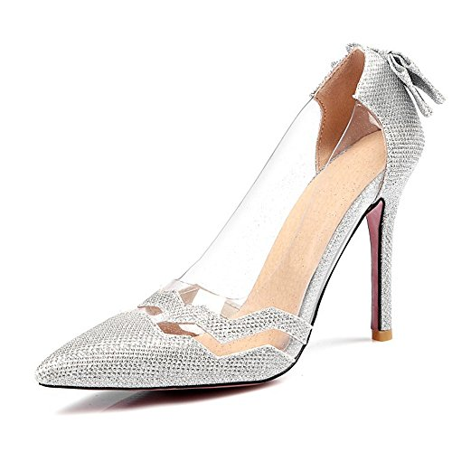 Quality.A Pointed Toe Shoes Sexy Bow high Heels Women's Wild Single Shoes(Silver 47/16 B(M) US Women) -