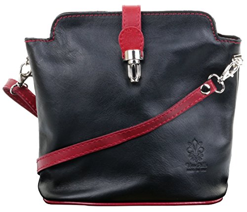 Primo Sacchi Italian Soft Leather Black and Red Hand Made Small Cross Body or Shoulder Bag Handbag