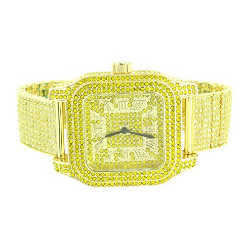 Canary Lab Diamond Watch Fully Iced Out Mens Analog Stainless Steel Back Hip Hop by Master Of Bling
