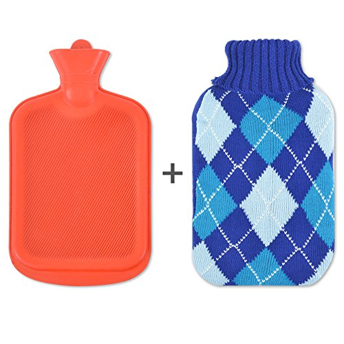 PrimaCare Sweater Hot Water Bottle with Argyle Knit Cover - Back Pain Relief & Cold Feet Syndrome – Warm Up To 10 Hours (2 Liter) (Blue - Paseo Hours