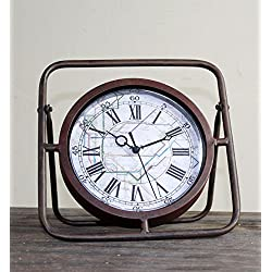 ZHENAI Retro To Do The Old Creative Iron Table Clock/Table Clock/Clock/Watch Office