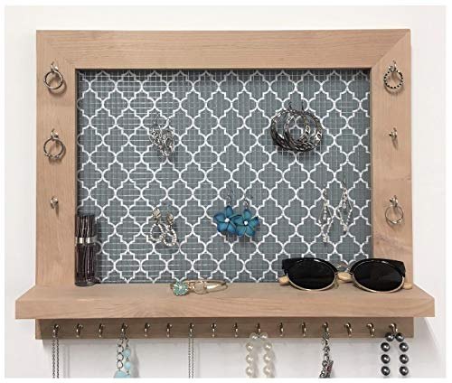 Firwood Forest Wall Mounted Jewelry Organizer With Shelf for Necklaces Earrings Bracelets by Firwood Forest